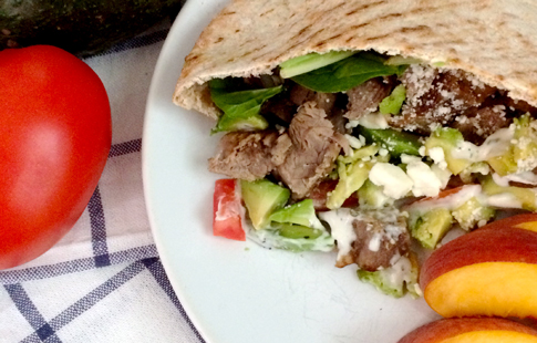 Steak Avocado and Feta Pitas