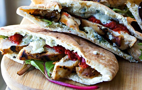 SPONSORED: Grilled Italian Chicken Pita w/ the MOST AMAZING Vegan Ricotta (DF, Nut-Free)