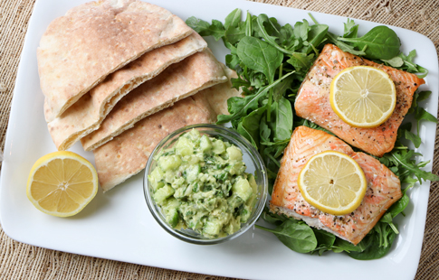 Citrus Herb Salmon with Cucumber Avocado Salad